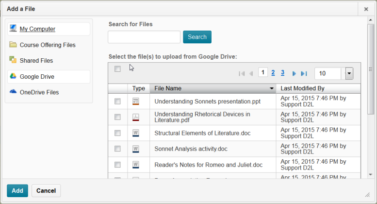 adding google documents to brightspace learning environment